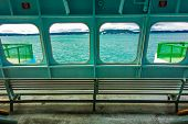 stock photo of orca  - View from the San Juan Islands ferry traveling from Anacortes to Orcas Island Washington - JPG