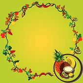 picture of tangelo  - Vector illustration of a tropical fruit wreath - JPG