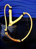 pic of sling bag  - home made wooden slingshot in jeans bag - JPG