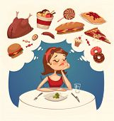 Girl on a diet. Tasty desires. Vector illustration.