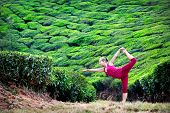 picture of natarajasana  - Yoga natarajasana dancer pose by woman in red cloth on tea plantations in Munnar hills Kerala India - JPG