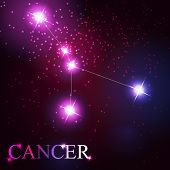 cancer zodiac sign of the beautiful bright stars on the backgrou