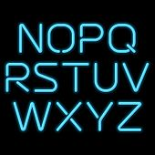 stock photo of alphabet  - 3D realistic blue neon letters - JPG