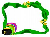 image of end rainbow  - editable eps vector format jpeg large green bow at corner with ends going around edge of page with pot of gold and rainbow in left bottom corner with gold fourleaf shamrock on pot and ribbon - JPG