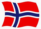 Illustration of Norway flag waving in the wind, vector