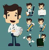 Set Of Businessman Characters Poses , Office Worker poster