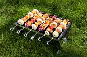image of brazier  - Grilled meat on sticks  - JPG