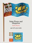 Saint Pierre And Miquelon Wavy Flag And Coordinates