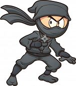 Cartoon ninja holding a star. Vector clip art illustration with simple gradients. All in a single la