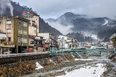 NAGANO, JAPAN - FEB 4, 2013: The small town of Shibu Onsen in Nagano Prefecture. The town is famed f