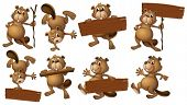 Illustration of a group of beavers with empty wooden boards on a white background