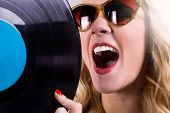 Retro girl with vinyl LP