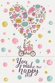 You make me happy �¢�?�? stylish romantic card in modern pastel colors. Cute couple of lovers on