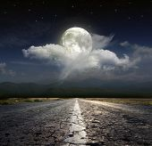 picture of paved road  - Paved road in the moonlight - JPG
