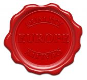 Europe Quality - Illustration Red Wax Seal Isolated On White Background With Word : Europe poster