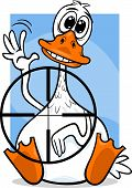 picture of unawares  - Cartoon Humor Concept Illustration of Sitting Duck Saying or Proverb - JPG