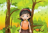 stock photo of hollow log  - Illustration of a cute girl at the forest with an orange sando - JPG