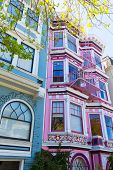 picture of victorian houses  - San Francisco Victorian houses in Haight Ashbury of California USA - JPG