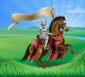 image of jousting  - A red medieval knight in armor riding on horseback on a brown horse holding a flag or banner in green field of grass with lion insignia - JPG