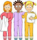 picture of slumber party  - Illustration of a Group of Girls Wearing Onesies - JPG