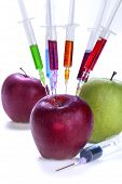 stock photo of modification  - Genetic modification of fruit with a syringe full of chemicals - JPG