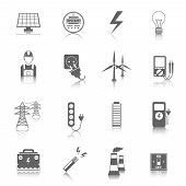 picture of accumulative  - Set of electricity energy accumulator icons in grey color with reflection - JPG