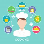 picture of pastry chef  - Delicatessen cooking culinary pastry chef classes advertisement with kitchen pictograms composition poster placard flat vector abstract illustration - JPG