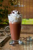 image of whipping  - Coffee mocha with whipped cream and chocolate - JPG