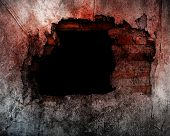 picture of horror  - Hole On Broken Concrete Wall Use For Horror Or Scary  Scene - JPG