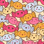 foto of kawaii  - Seamless kawaii cartoon pattern with cute candies - JPG