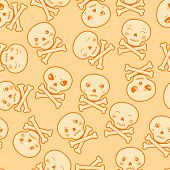 picture of kawaii  - Seamless kawaii cartoon pattern with cute skulls - JPG
