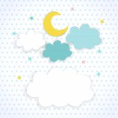 stock photo of sweet dreams  - Moon clouds and stars on the background fabric with polka dots - JPG