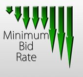 stock photo of macroeconomics  - Graph illustration showing Minimum Bid Rate decline - JPG