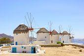 stock photo of windmills  - old traditional windmills of mykonos island Greece - JPG