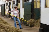 stock photo of stable horse  - young female horse breeder working inside stable - JPG