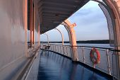 foto of passenger ship  - Details of the deck passenger ship at sunset - JPG