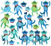 stock photo of sock-monkey  - Collection of Boy Themed Sock Monkey Vectors - JPG