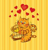 foto of nightingale  - Card with a cat lover for Valentine - JPG