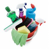 stock photo of cleaning agents  - variety of cleaning products in a bucket - JPG