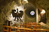 """stock photo of cave  - BUDAPEST HUNGARY - DECEMBER 1 2014: Gellert Hill Cave Church Budapest Hungary. The cave is also referred to as """"Saint Ivan"""