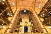 stock photo of synagogue  - BUDAPEST HUNGARY - DECEMBER 1 2014: Great Synagogue in Budapest Hungary. It is the second largest synagogue in the world.