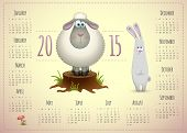 stock photo of rabbit year  - 2015 calendar template cute design with lamb and rabbit - JPG