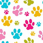 foto of paw  - Animal Paw Seamless Pattern Background Vector Illustration - JPG