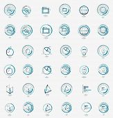 Minimal thin line design web icon set, universal logotypes, stampls and labels poster