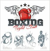 foto of knockout  - Boxing labels and banners set - JPG