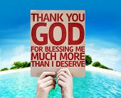 picture of blessed  - Thank You God For Blessing Me Much More Than I Deserve card with a beach on background - JPG