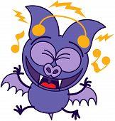 foto of bat wings  - Purple bat in minimalistic style with bulging eyes - JPG
