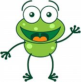 stock photo of enthusiastic  - Cute green frog with bulging eyes and long legs while waving and greeting enthusiastically vector - JPG