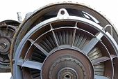 stock photo of upstream  - Close up image of the front of a Jet Fighter engine - JPG