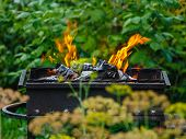 pic of brazier  - Burning coals in a brazier in the middle of a green garden - JPG